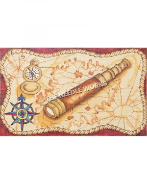 ancient map with telescope, compass, and blue, green and yellow compass rose
