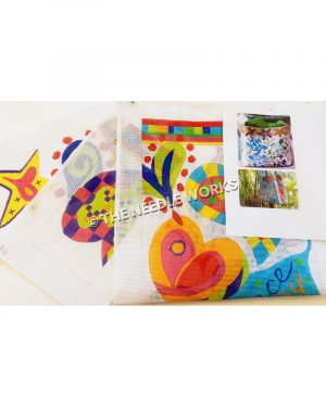 bright colored bags patterned with hearts and flowers in abstract swirl design