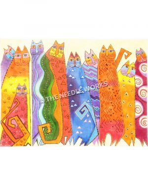 tall cats in various colors and geometric patterns on yellow background