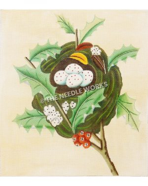 white eggs with red dots in nest with white flowers with black dots, holly leaves, and berries
