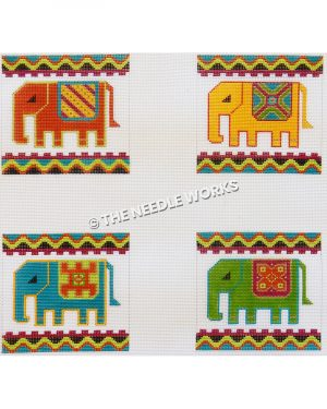 individual squares with colorful elephants with geometric blankets and wavy blue, red, green and black border
