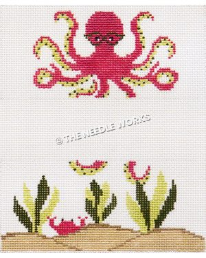 3 sections with pink octopus wearing glasses on top, white section in middle, and ocean floor with seaweed and crab on bottom