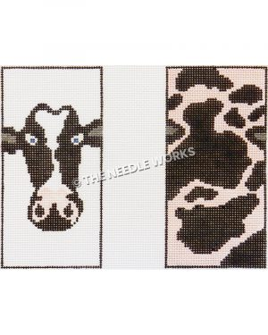 3D box with head of black and white cow on one side and body on other side