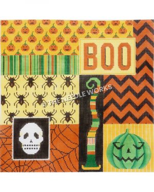 Halloween themed square with orange, black, yellow and green geometric patterns with BOO written in orange on yellow, white skull on black, and green jack-o-lantern on yellow