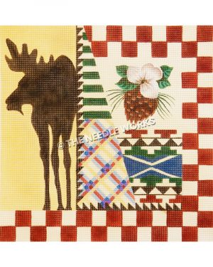 red and white checkered patchwork block with pine cone, southwestern patterns in multiple colors, and silhouette of moose on yellow