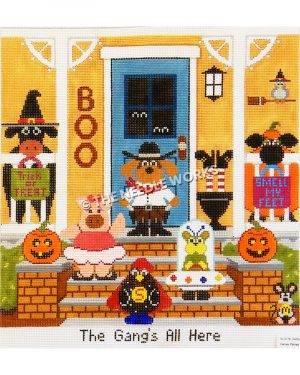yellow house front with Halloween decorations and various animals dressed in Halloween costumes and The Gang's All Here on bottom