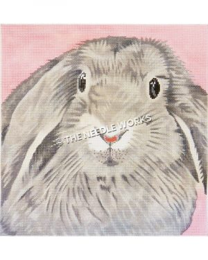 gray bunny closeup on pink background