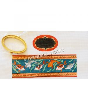 box with coy fish with red and gold trim and black, gold and red oval top