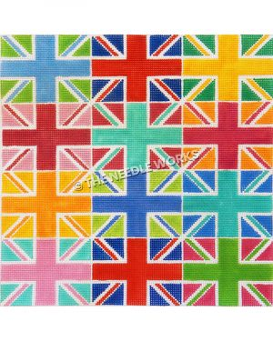 British flag in colorful repeating pattern