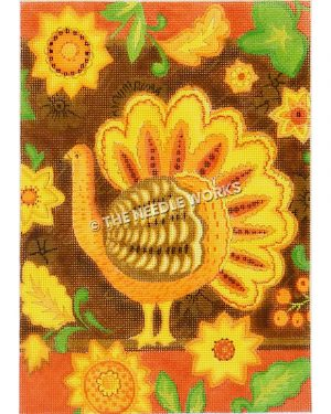orange, yellow, and brown turkey on brown background with yellow flowers surrounding