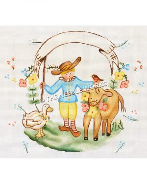 shepherd boy holding white banner with yellow cow wearing pink and yellow flowers with red bird and white duck with flowers