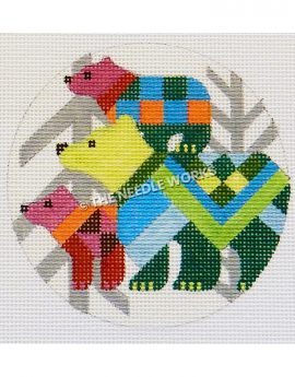 abstract bears ornament with silver trees in background
