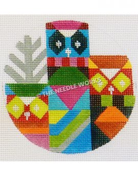 abstract owls in multiple colors and geometric patterns with silver tree in background