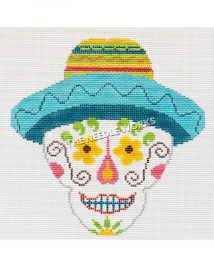 white candy skull with yellow, pink and green patterns wearing a blue, yellow and green sombrero