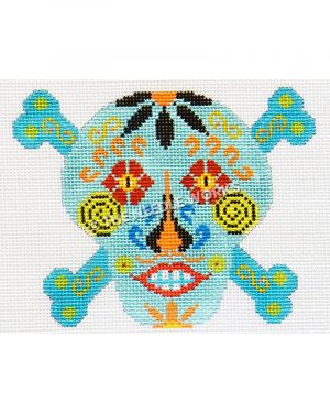 blue candy skull and crossbones with red and yellow eyes, yellow and black swirls, and black and orange flowers