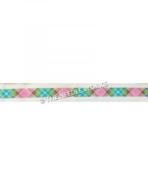 belt with pink, green, blue and white plaid