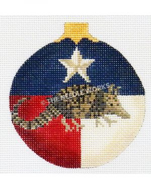 Texas flag ornament with armadillo