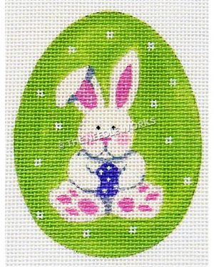 lime green Easter egg with white bunny holding purple egg