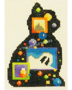 black cat with Halloween images including ghost in rectangles and colorful dots