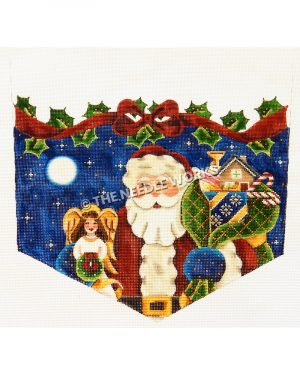 stocking top with Santa holding sack of toys and angel on starry sky background with red bow and holly leaves