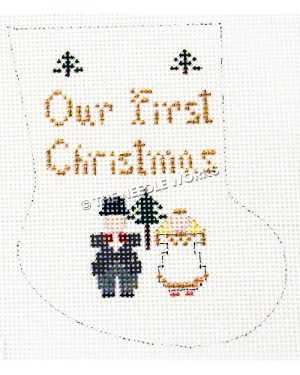 white stocking with couple and three Christmas trees and Our First Christmas written in gold