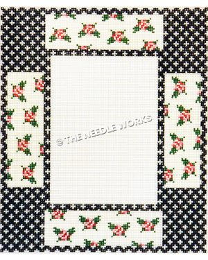 picture frame with black and white border and pink roses in white rectangles
