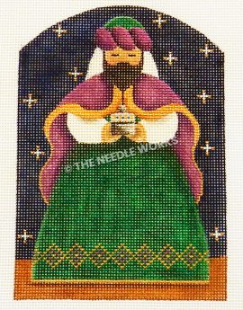 one of the three kings from nativity scene wearing green, white, and dark pink robe on dark blue starry sky