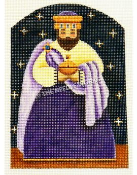 one of the three kings from nativity scene wearing purple and gold robe on dark blue starry sky