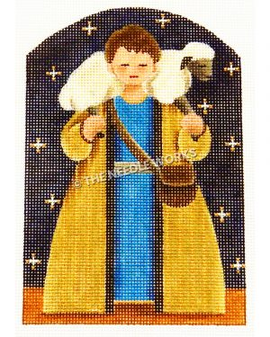 shepherd carrying sheep wearing blue tunic and gold robe on dark blue star background