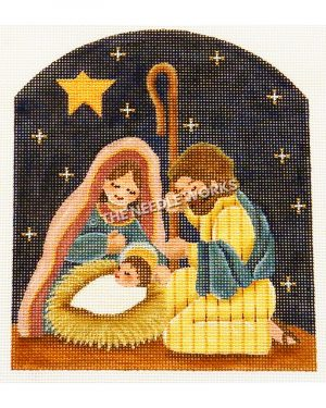 baby Jesus, Mary, and Joseph with bright star and dark blue starry sky