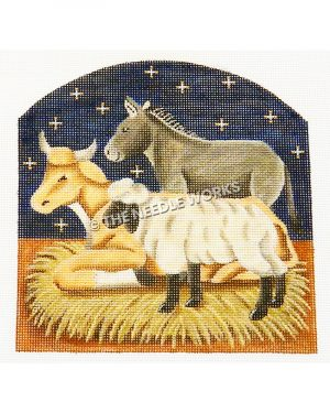 horse, donkey and sheep nativity scene with blue starry sky