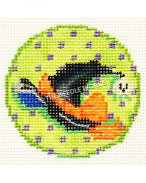 green ornament with purple polka dots and witch's hat, white skull, and orange sash