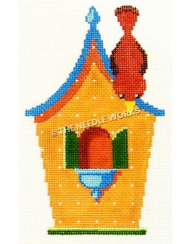 orange birdhouse with green shutters on window and blue roof with red bird looking down