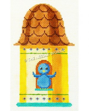 yellow birdhouse with brown roof and blue bird sitting inside