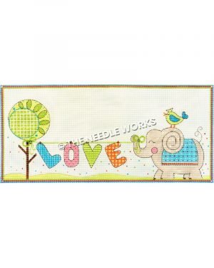 green flower and elephant with yellow and blue bird on its head holding word LOVE from green ribbon by trunk
