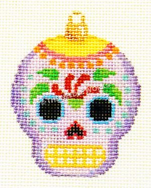 purple skull with green and red pattern, yellow and white mouth and yellow cap with pink and orange fringe