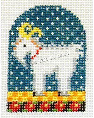white goat with blue starry sky background standing on yellow and orange checkered floor and black border with red flowers
