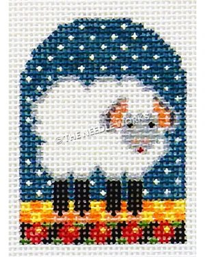 gray and white lamb on orange and yellow checkered floor on blue starry sky and black border with red flowers