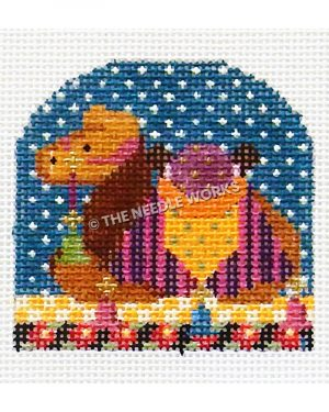grown camel with pink and purple striped blanket and orange saddle with blue starry sky and yellow and white checkered floor with black border with pink flowers