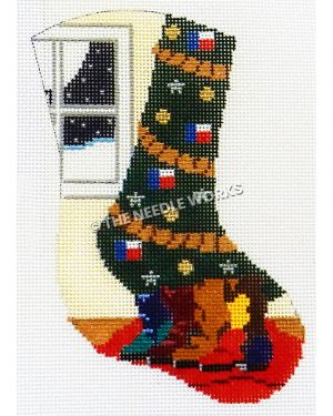 yellow stocking with Christmas tree with Texas flags and boots under the tree