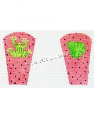 pink pocket covers with frog and lilypad and black polka dots
