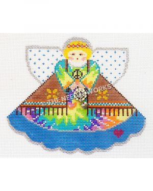 blonde angel in tie dye dress with blue trim, brown fest with flowers, peace symbol necklace and flower wreath on head