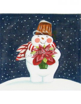snowman holding poinsettia wearing red and white scarf and brown hat on dark blue sky background with snowflakes