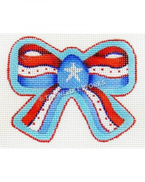 red, white and blue bow with white star in center