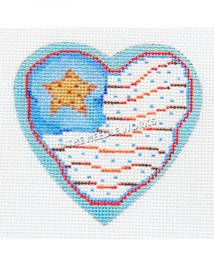red, white and blue American flag heart