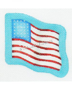 American flag on light blue background