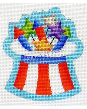 red and white Uncle Sam hat upside down with fireworks sticking out from hat