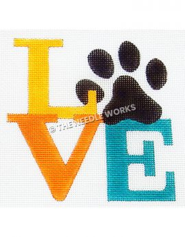 "LOVE in yellow, orange and blue with black paw print in place of ""O"""