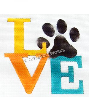 """LOVE in yellow, orange and blue with black paw print in place of """"O"""""""