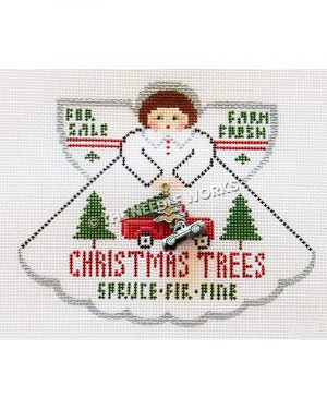brunette angel in white dress with green trees and red truck with Christmas trees spruce, fir, pine, for sale, farm fresh written on dress and wings, holding metal charm of tree and truck